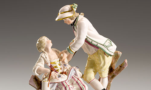 "Picture: Faience figure ""Hunter with girl"""